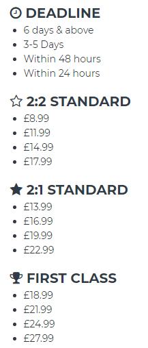 nursingessay.co.uk price